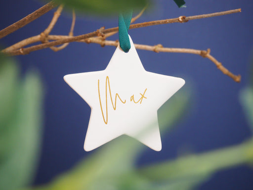 Personalised Scripted Ceramic Star Tree Decoration