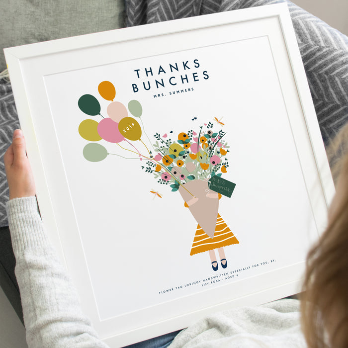 Personalised 'Thanks Bunches' Thank You Teacher Square Print