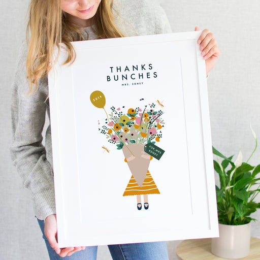Thank you Teacher 'Thanks Bunches' Print with personalised flower tag. Childs Handwriting option.