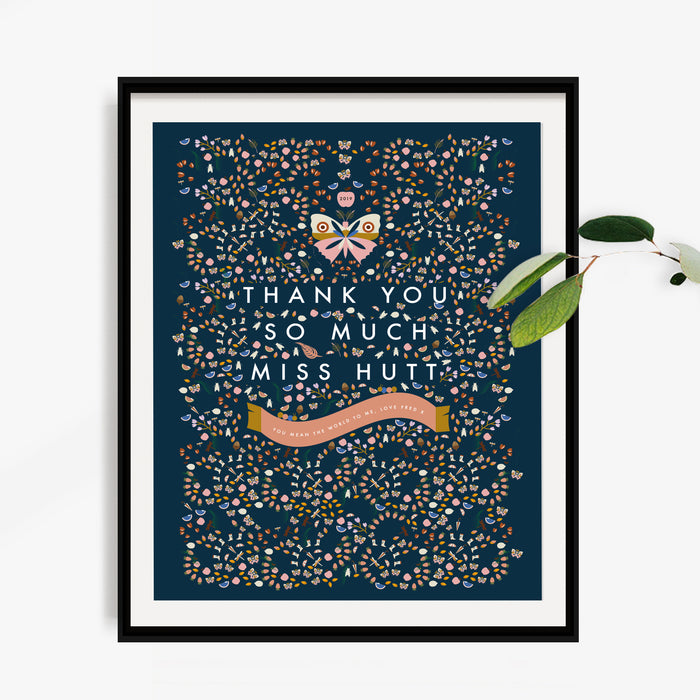 Personalised 'Thank You So Much' thank You Teacher Butterfly Print