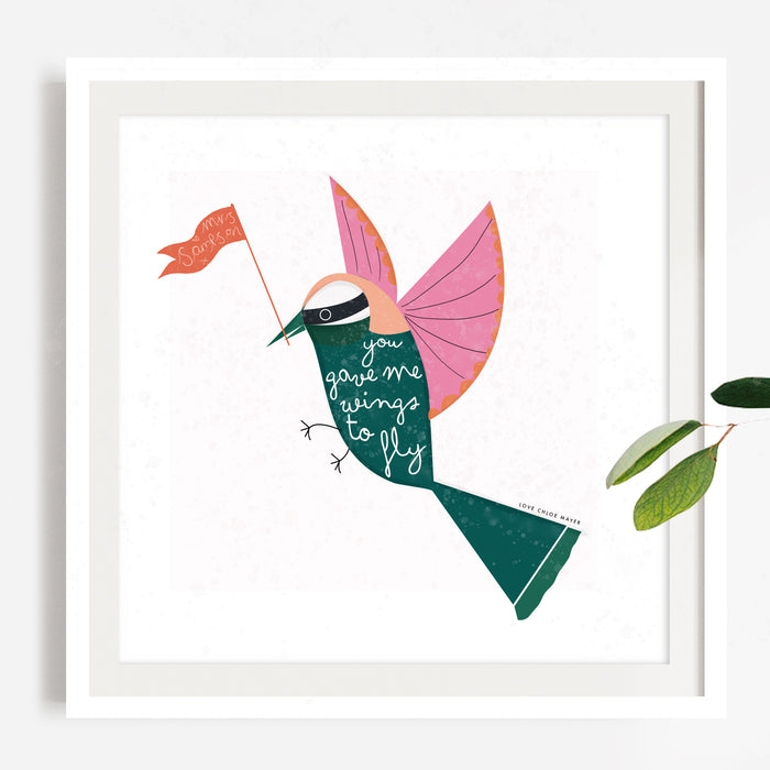 You Gave Me Wings to Fly Personalised Thank You Teacher Print