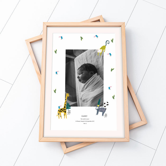 Personalised New Baby Jungle Illustrated Photo Print
