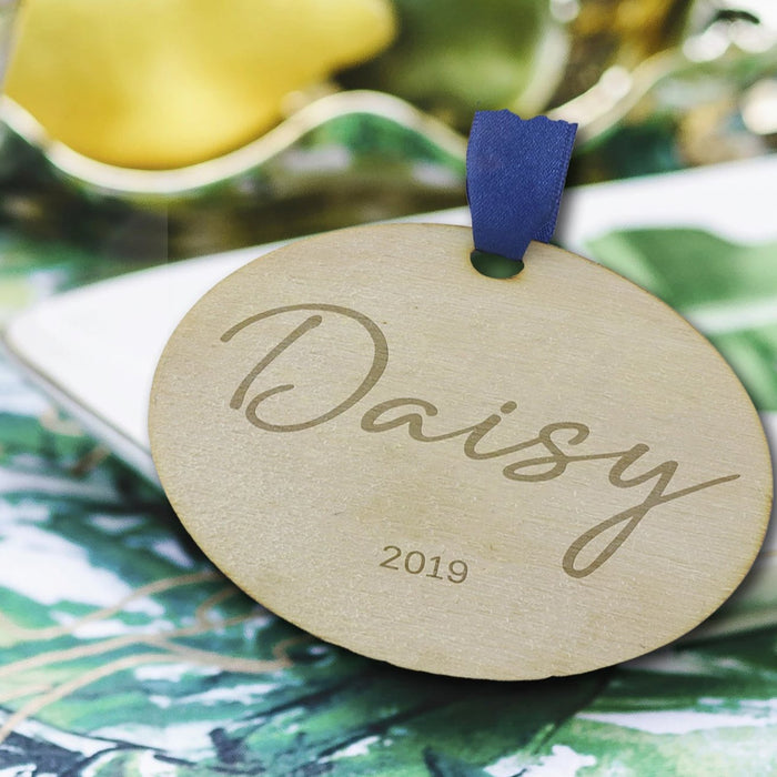 Christmas Cracker Alternative, Personalised Engraved Wooden Christmas Bauble