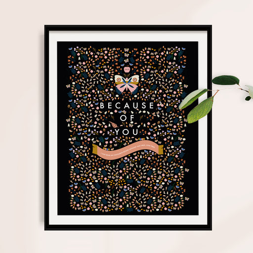 Personalised 'Beacuse of You' Thank You Teacher Butterfly Print