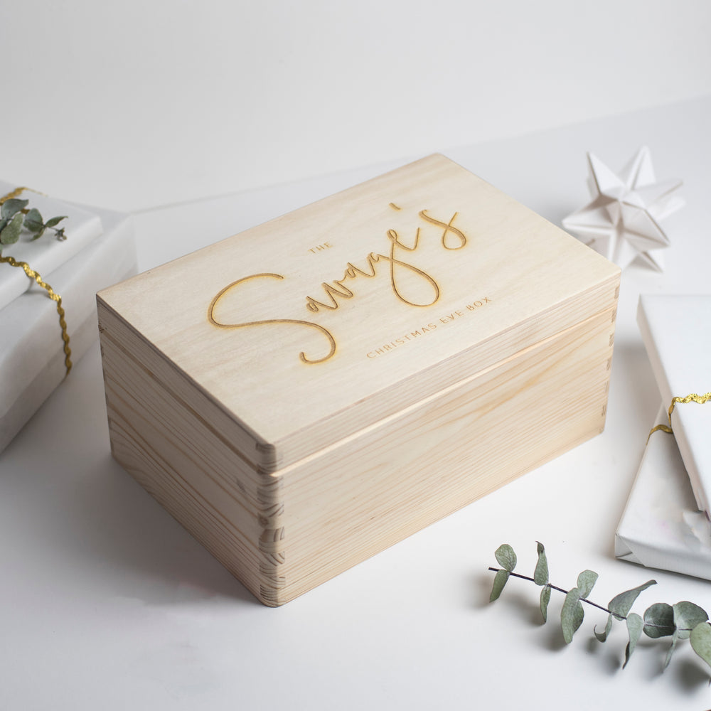 Personalised Wooden Engraved Family Christmas Eve Box