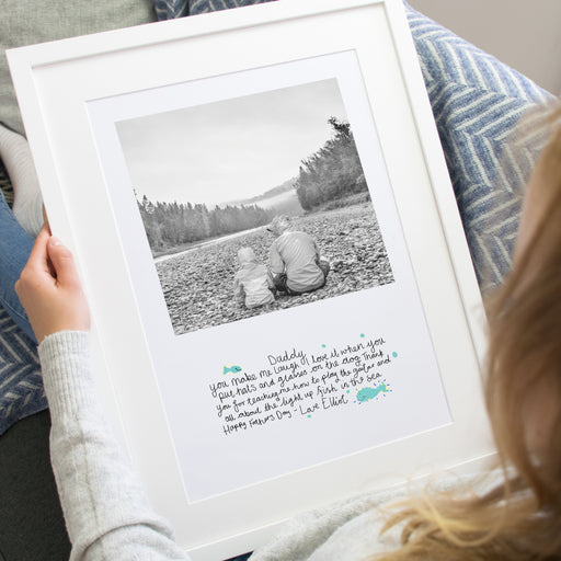 Your Childs Handwritten Message With Photo Fathers Day Framed Print