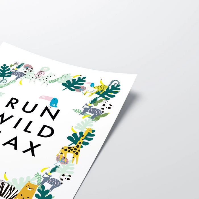 Personalised Run Wild Jungle Illustrated Print