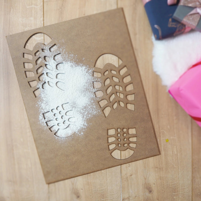 Santa's Been! Magical Night Before Christmas Santa's Snowy Footprints Wooden Stencil