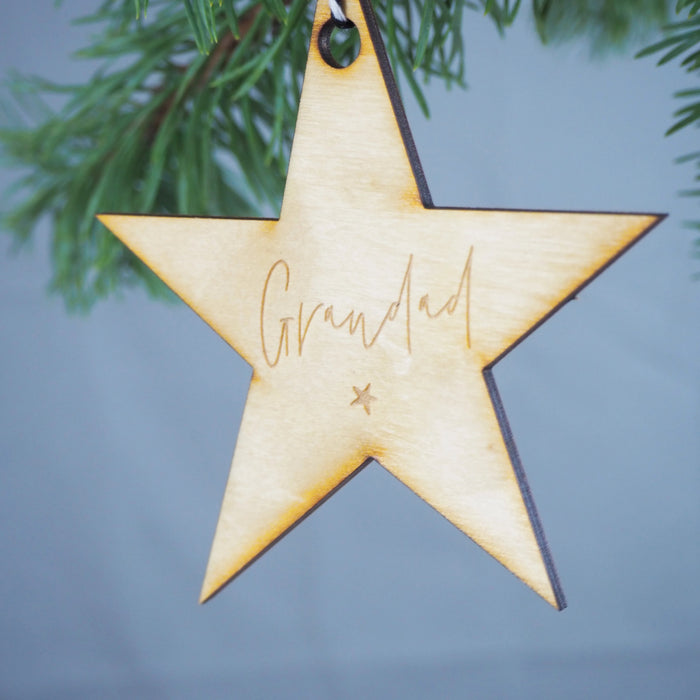 Personalised Star Engraved Memorial Bauble