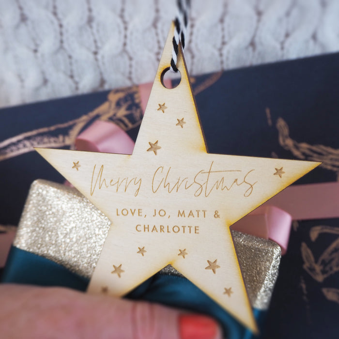 Family Christmas Engraved Wooden Bauble