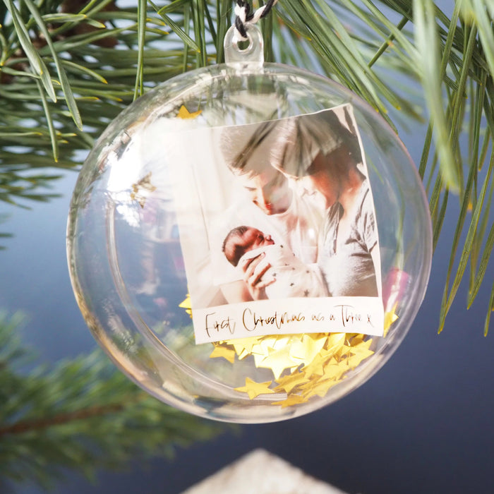 First Christmas as a family of Three Personalised Photo Bauble With Star Confetti