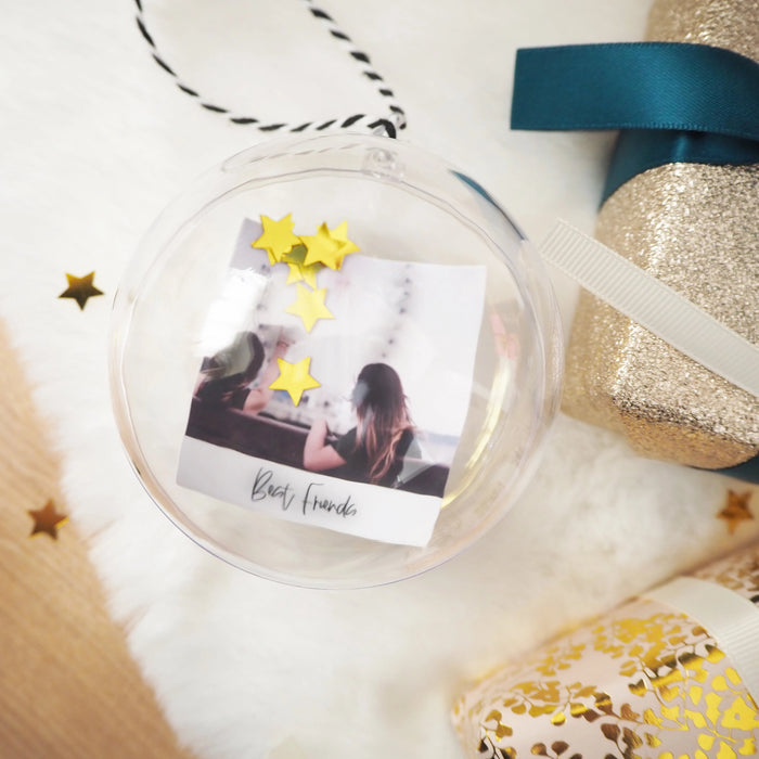 Best Friends Personalised Photo Bauble With Star Confetti