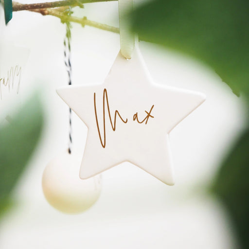 Luxury Ceramic Baby's First Christmas Personalised Tree Decoration
