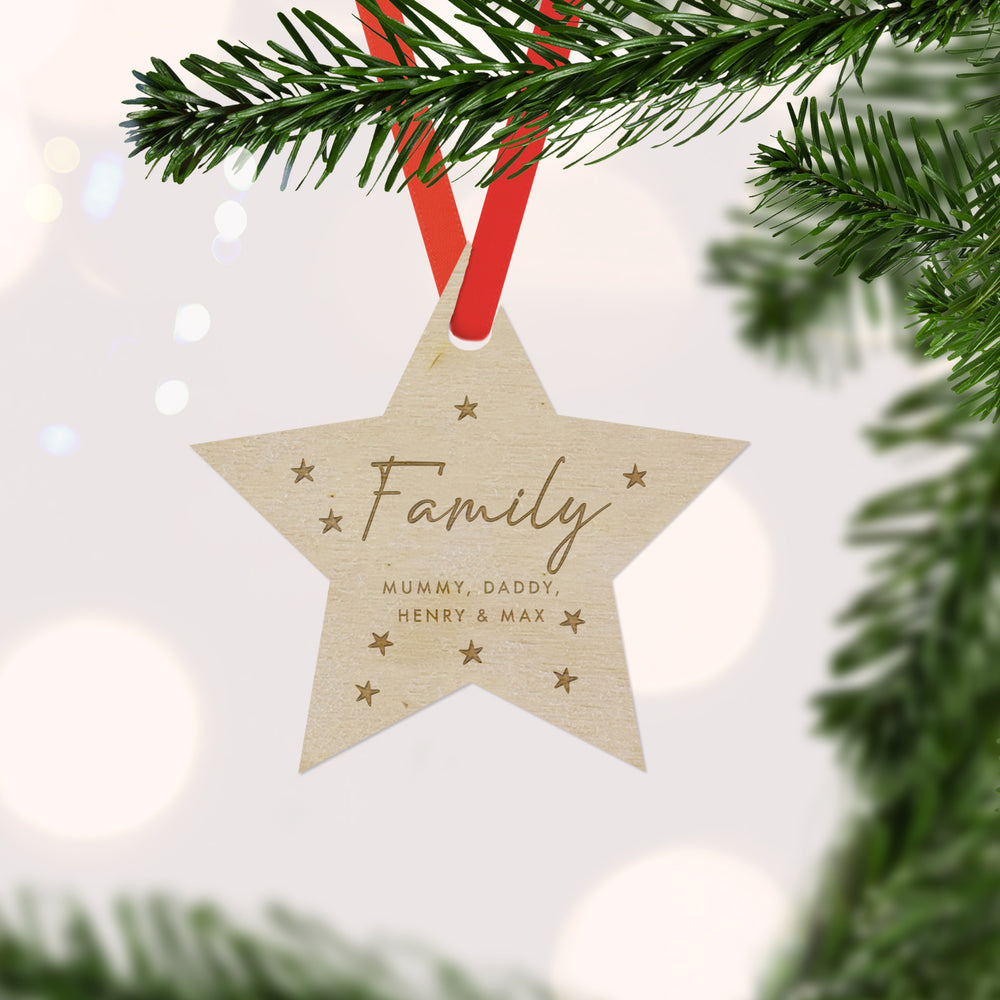 Personalsed Engraved Family Wooden Star Christmas Tree Decoration