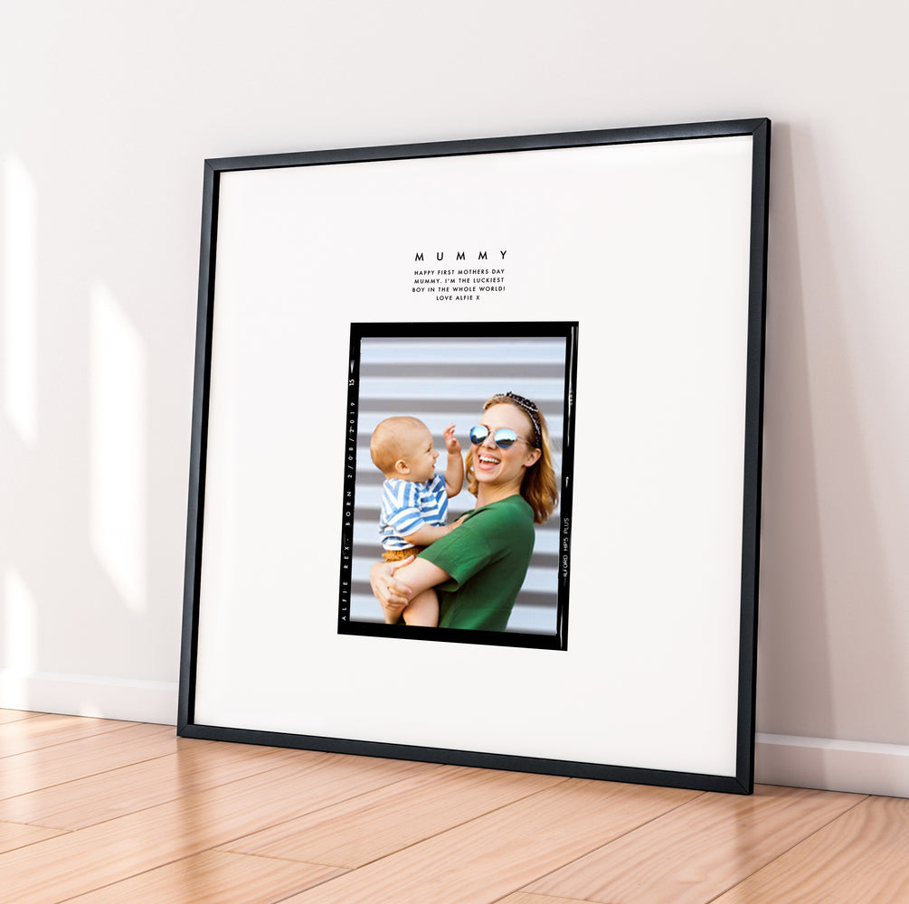 Personalised 'I'm So Lucky' First Mothers Day Retro Framed Print