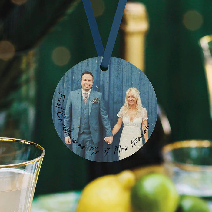 Our First Christmas as Mr & Mrs Personalised Photo Bauble