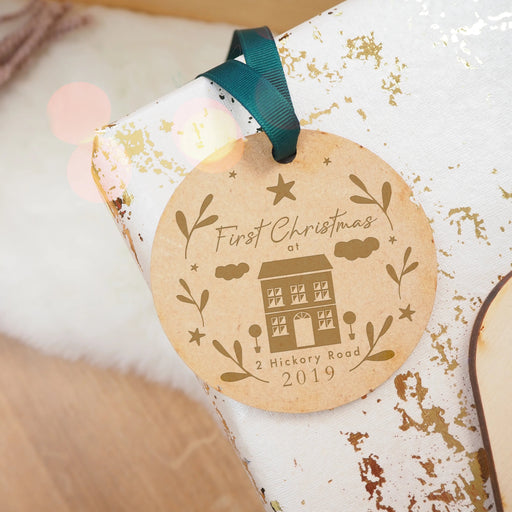 'First Christmas At' Address Engraved Wooden Christmas Tree Decoration
