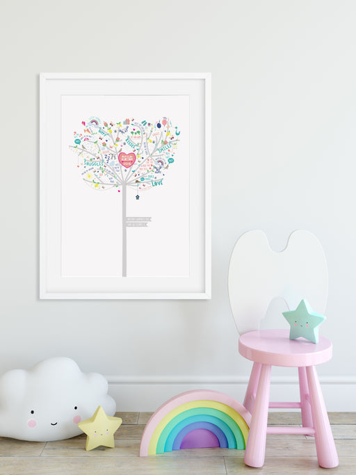 Baby Girl Happiness Tree Print