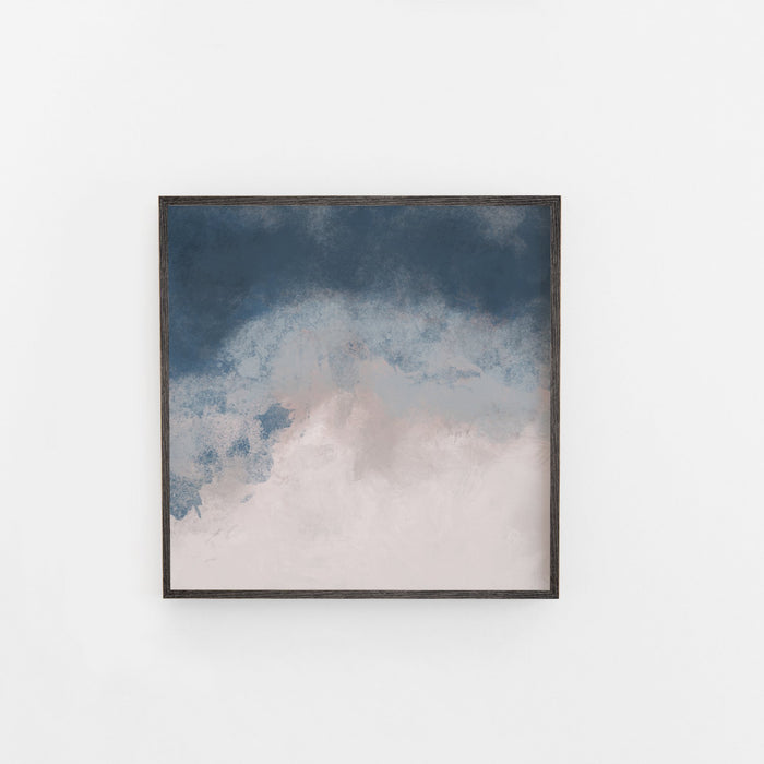 Abstract Square and Blush and Navy Large Art Print