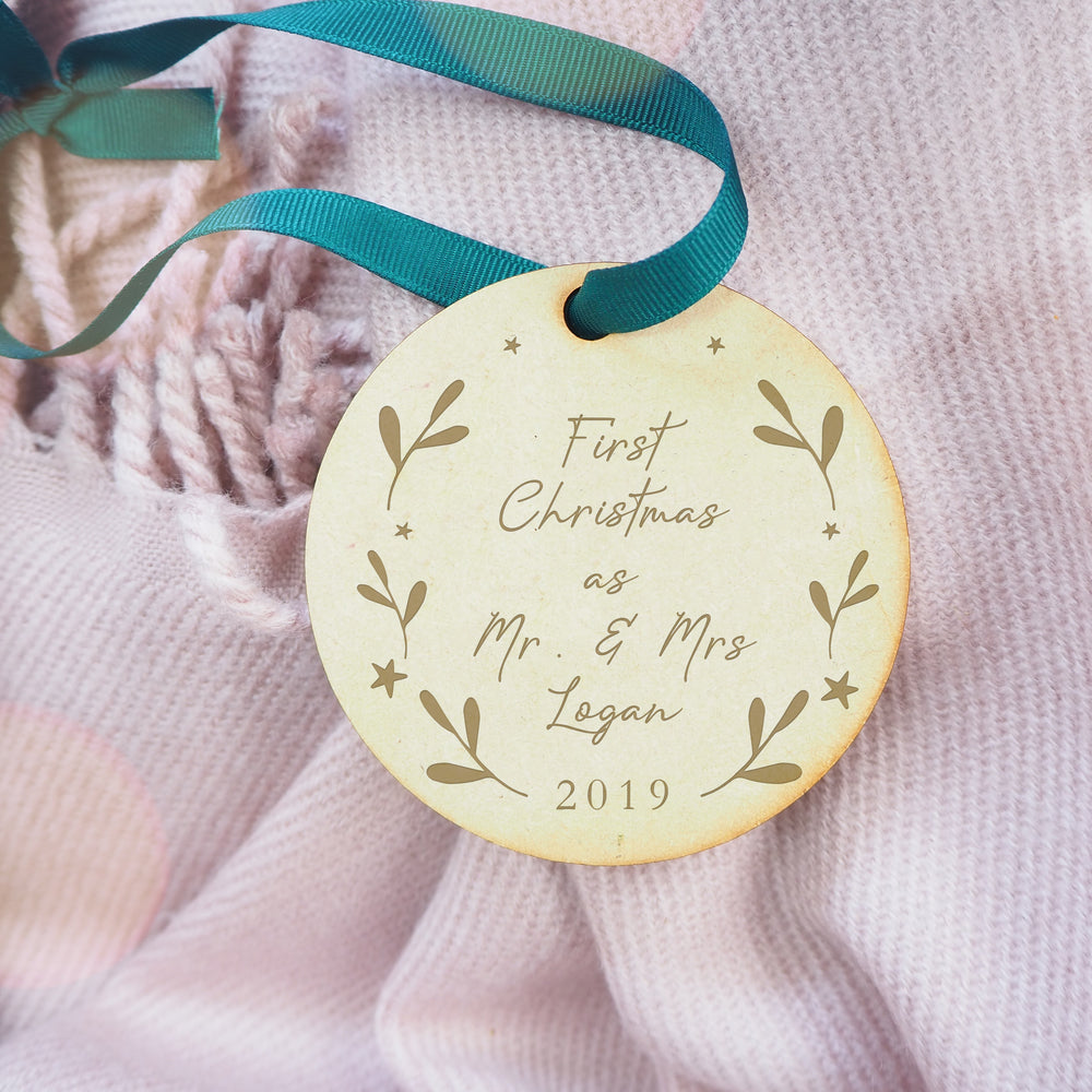 First christmas as 'Mr & Mrs' Newly Wed Engraved Wooden Circular Christmas Tree Decoration