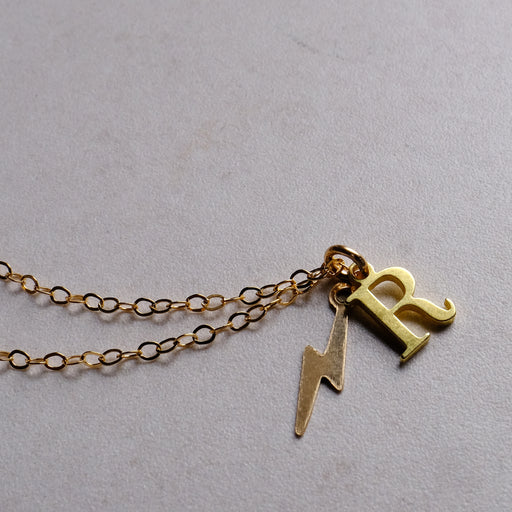 Gold Initial Necklace With Bolt of Strength