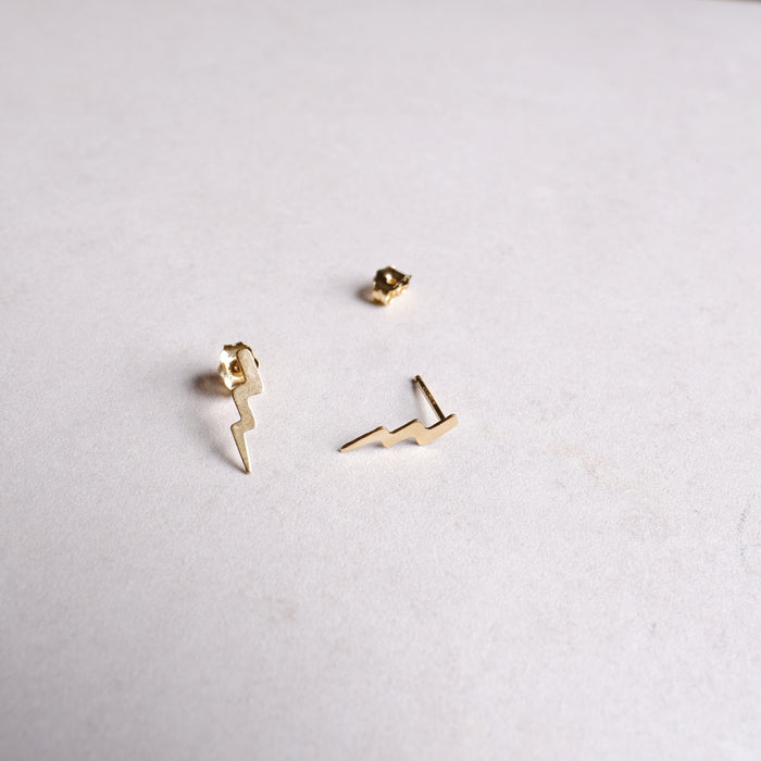 Gold Lightning Bolt Dainty Stacking Studs Extra Voltage