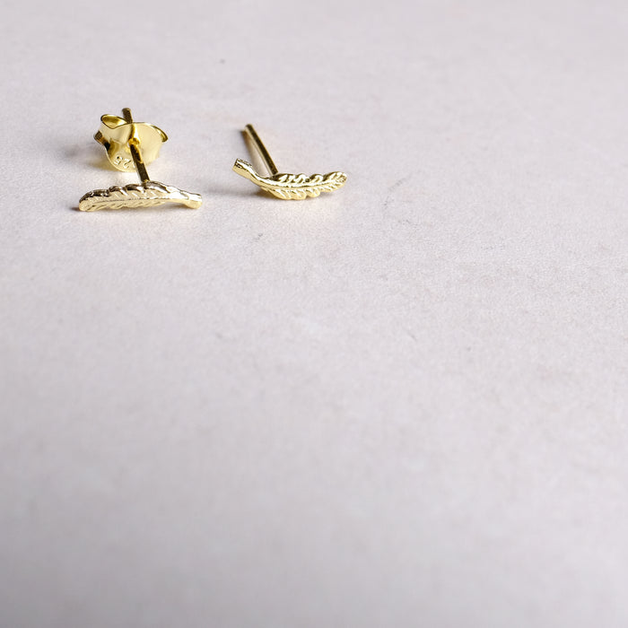 Gold Plated Sterling Silver Dainty Feather Studs