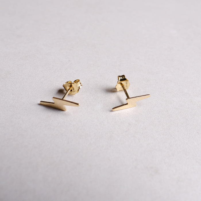 Gold Lightning Bolt Dainty Stacking Studs