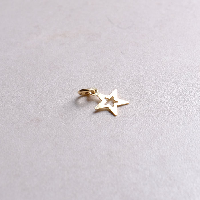Gold Open Star Charm (add on pendant)