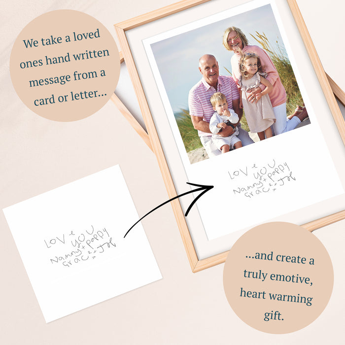 Your Childs Handwritten Photo Print For Grandma and Grandad