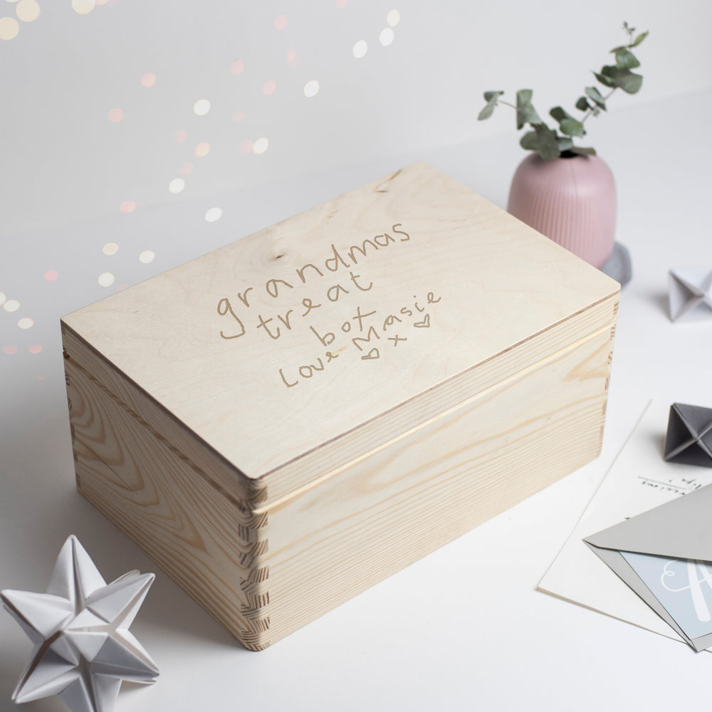 Your childs handwriting engraved wooden box 'Grandma's Treat Box'