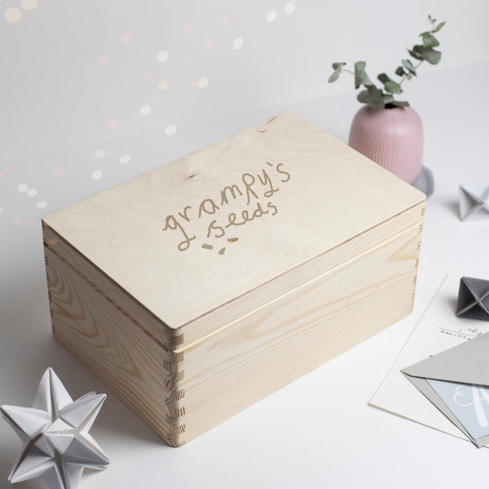 Your Childs Handwriting Engraved Wooden Box For Grandad or Grandma
