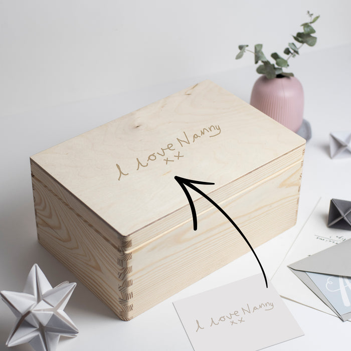 Your Childs Handwriting Engraved Keepsake Box for Grandma or Grandad.