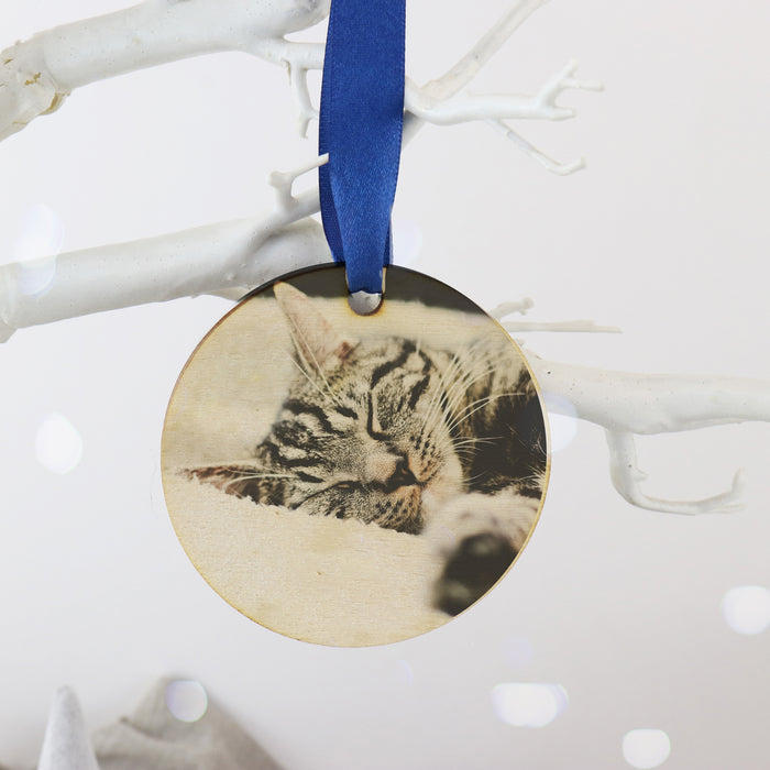 Remembering a lost Pet Personalised Photo Wooden Christmas Bauble