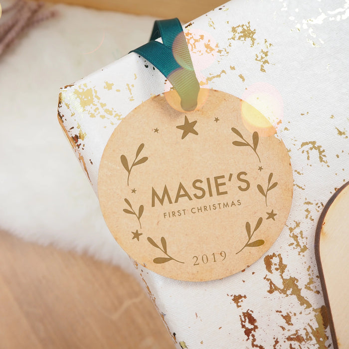 Baby's First Christmas Engraved Wooden Christmas Tree Decoration Plain Text