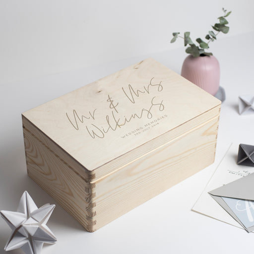 Personalised Wedding Memories Engraved Wooden Box