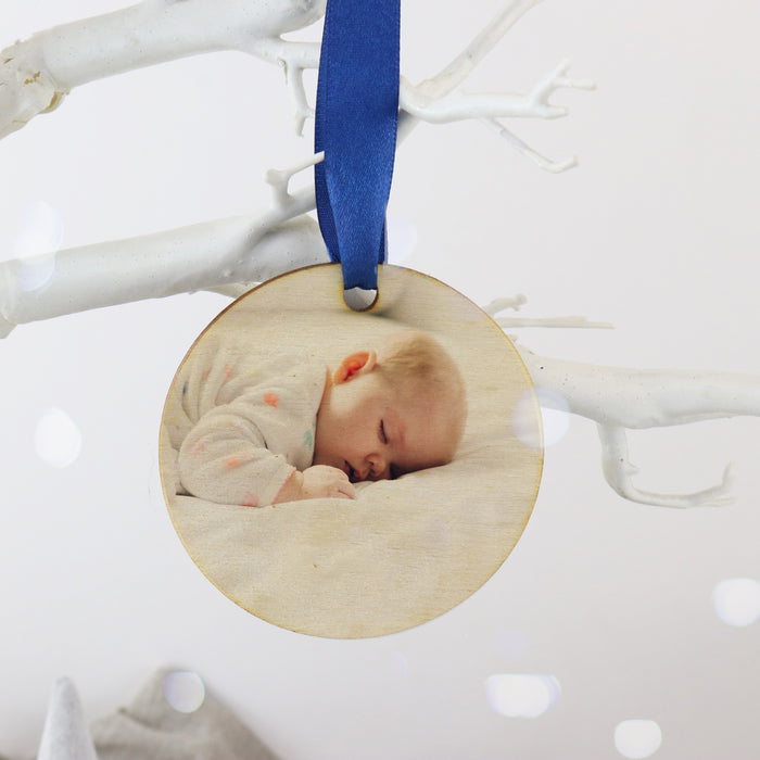 Personalised New Baby Photo Wooden Christmas Bauble