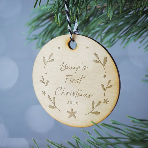 Bump's First Christmas Engraved Wooden Christmas Tree Decoration