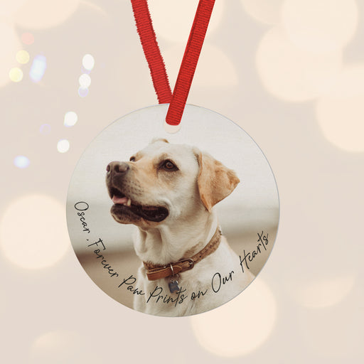Forever Paw Prints on Our hearts Missed Pet Personalsied Photo Bauble