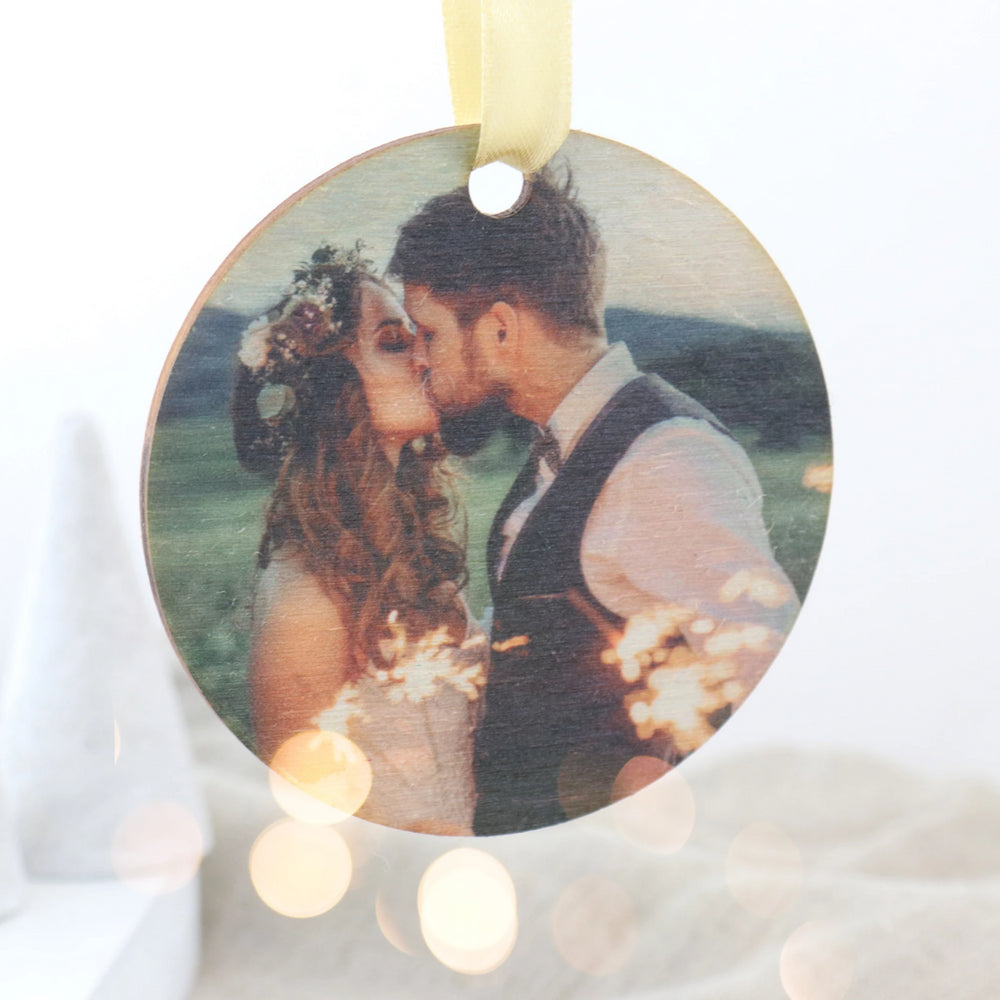 Personalised Photo Wooden Christmas Bauble