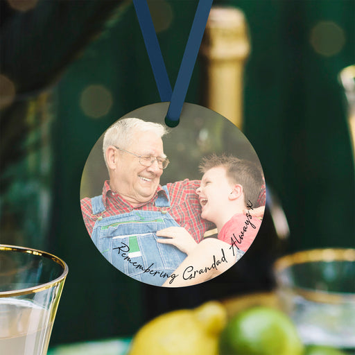 Remembering Grandad Keepsake Personalsied Photo Bauble