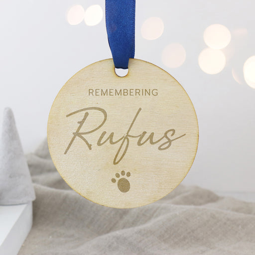 Remembering a lost Pet Personalised Engraved Wooden Christmas Bauble
