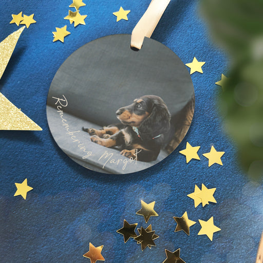 Remembeing a lost Pet at Christmas Personalised Photo Bauble