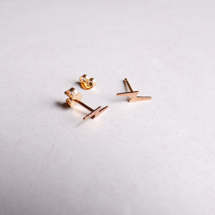 Rose Gold Plated Sterling Silver Lightning Bolt Studs