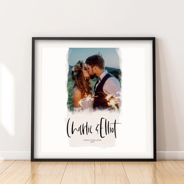 Personalised Torn Paper Effect Scripted Wedding Photo Art Print