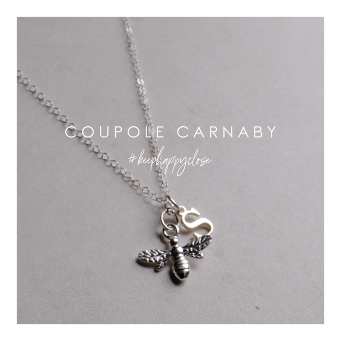 Sterling Silver Initial & Bumble Bee Necklace