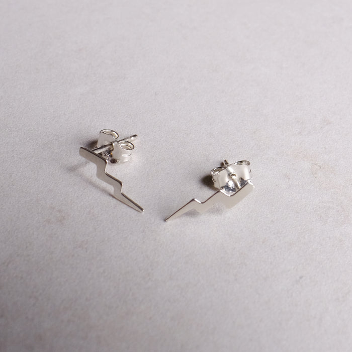 Sterling Silver Lightning Studs With Extra Bolt
