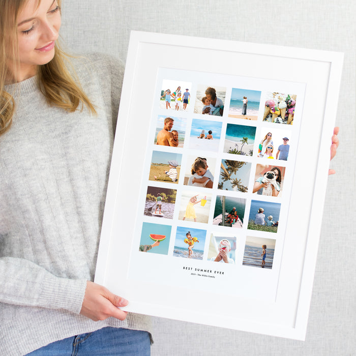 Personalised Summer Memories Photo Collage Print