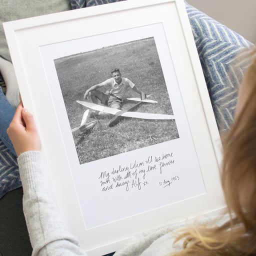 Take Grandma Back in Time Photo Print (includes photo of Grandad and his handwriting)