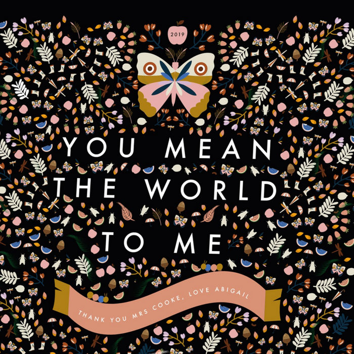 Personalised 'You Mean The World To Me' Thank You Teacher Classroom Print